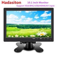 """Monitor LCD de 10,1 """"HD 1024x600 para coche, reproductor MP5, monitor de seguridad para el hogar, PC, TV, compatible con VGA, BNC, USB, HDMI y ENTRADA AV"""