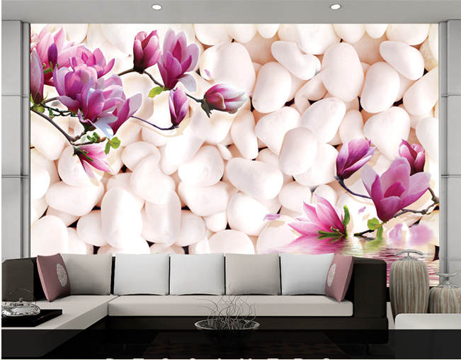 Cobblestone Purple Magnolia Flower Papel Murals 3d Wall mural 3d Wallpaper for sofa background 3d photo mural Wall paper 3d ручка feizerg f001 purple fp001