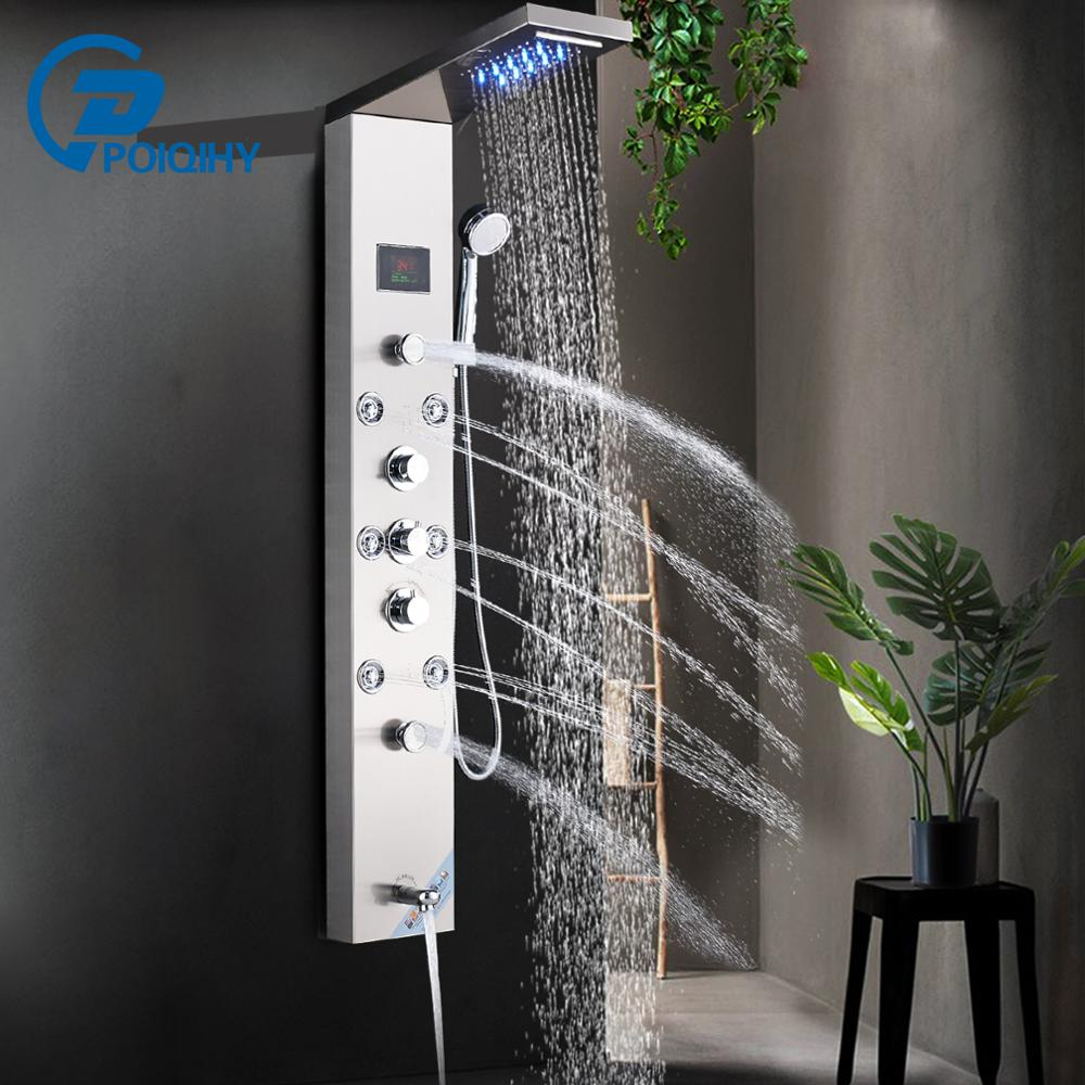 Shower-Panel Wall-Mount Rain-Waterfall Tap Stainless-Steel LED Jets