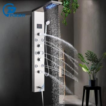 LED Shower Panel Stainless Steel Wall Mount Shower Column Panel Tower System LED Rain Waterfall Shower Jets Tap Hand Shower Tub 1