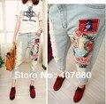 2015 venda quente do moda patchwork denim buraco rasgado jeans PATCHES fresco calças largas