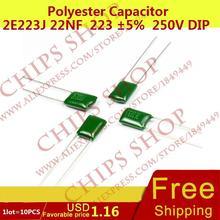1 лот = 10 шт. полиэстер конденсатор 2E223J 22nF 223 5% 5 мм (1 мм) 250 В DIP-2 DL-2E223J 22000
