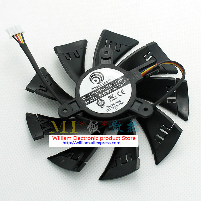 New Original for ASUS Graphics card fan diameter 90mm pitch 42mm thermostat Power Logic PLD09210D12HH 12V 0.40A free shipping power logic pld10010s12m 12v 0 20a 95mm for gigybyte gvn550wf2 n56goc r667d3 r777oc graphics card cooling fan 2pin