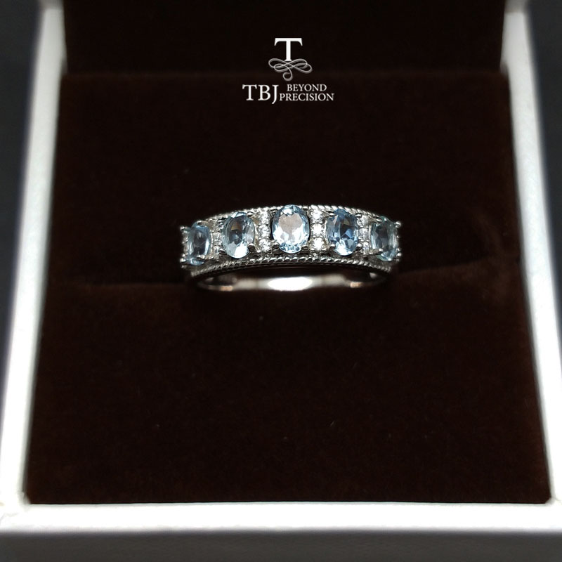 TBJ simple and classic ring with natural good color Brazil aquamarine gemstone ring in 925 sterling