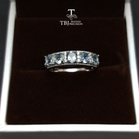 TBJ,simple and classic ring with natural good color Brazil aquamarine gemstone ring in 925 sterling silver for women as a gift