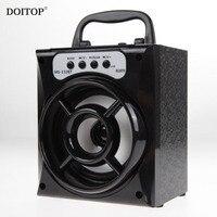 DOITOP LED Bluetooth Wireless Stereo Subwoofer Outdoor Speaker 3D Surround Radio Loudspeaker High Power Speaker Support