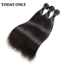 Today Only Peruvian Straight Hair 100% Human Hair Weave Bundles Non Remy Hair Extensions Natural Black Color Tissage Bresilienne