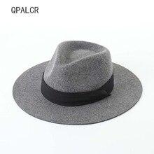 QPALCR Brand Winter Autumn Wool Fedoras Hat For Women Men Fe