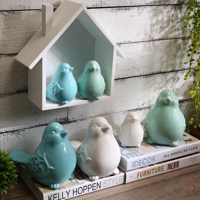 Nordic Ceramics Blue Birds Figurines Ornaments Green White Bird Animal model Garden Miniatures Decoration Crafts home decor