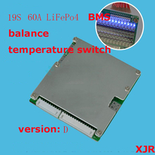 19 S 60A wersja D LiFePO4 BMS/PCM/PCB baterii płyta ochronna dla 19 pakiety 18650 baterii w/ balance w/przełącznik temperatury