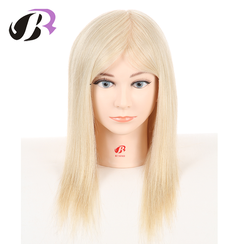 Hot Sale Female 14 Mannequin Training Head 100% Real Human Hair Manikin For Hairstyles Cosmetology Wig Dolls With Free Clamp hot sale 8 male mannequin head 100% virgin human hair hairdressing training head hairstyles manikin head dolls with free clamp