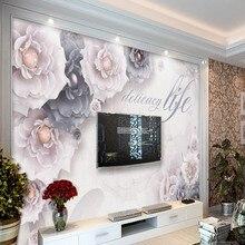 Beibehang, grandes papeles de pared personalizados, cristales dorados, flores de diamante, joyería de fondo, paredes, sala de estar, dormitorio, sofá, decoraciones...