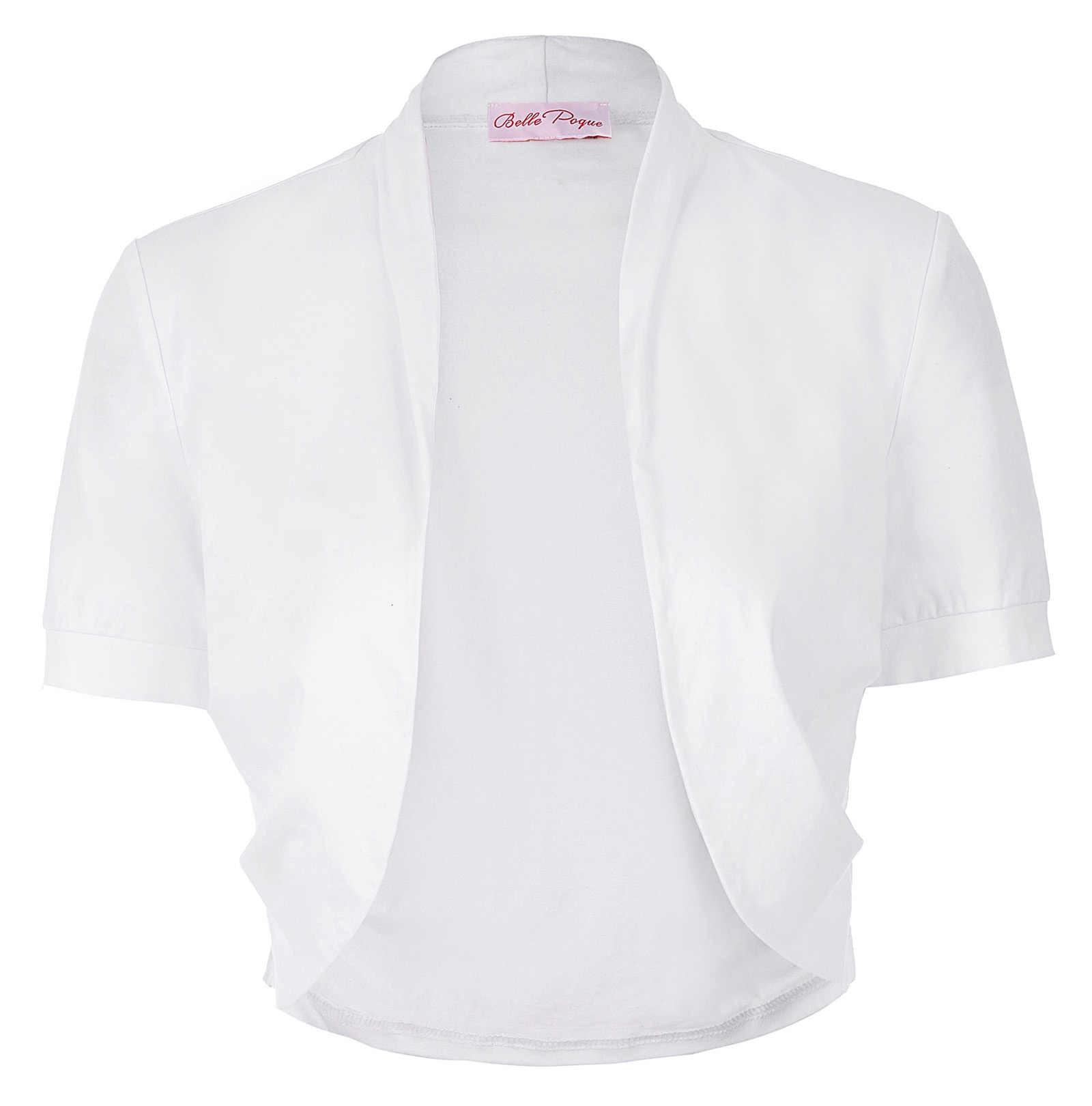 Vrouwen Dames tops Korte Mouw effen kleur Geplooide Kanten Katoen Bolero Bolero voor wedding party elegante half schouderophalen wit zwart