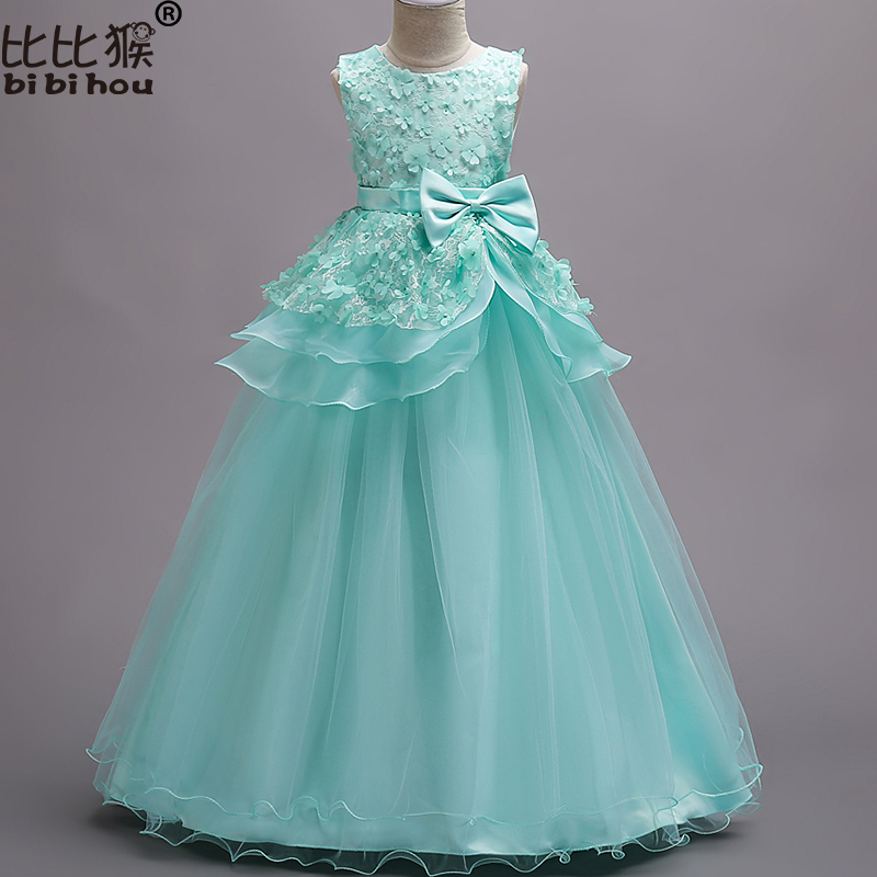 Flower Girl Dresses Kids Petal Wedding party dress kids princess bow long Floor Length Gown children clothing baby girl 3-14yrs girls princess party dresses children flower bow floor length lace tutu dress kids girl train wedding dress costume clothing