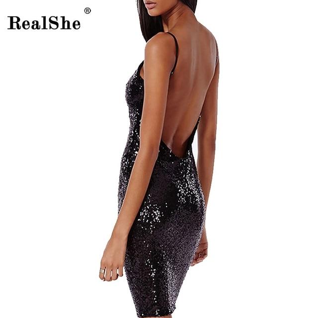 RealShe 2017 Лето Dress Женщины Без Рукавов Спинки Блесток Midi Сарафан Женщины Черный Sexy Party Club Платья Vestidos