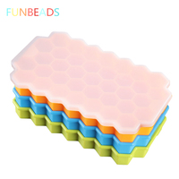5pcs/lot 20*12*2.4cm Silicone 37 Form For Ice Honeycomb Shape Ice Cream Molds Frozen Popsicle Molds Ice Cube Tray CM005