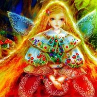 Girl Flowers Fairy Wings Amanita Long Hair Lace MA058 Living Room Home Wall Art Decor Wood