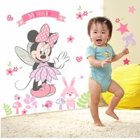 50pcs/Pack MINNIE MOUSE Wall Stickers Nursery GIRLS BABY FLOWERS PINK ANIMALS FAIRY