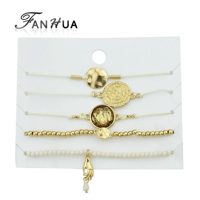 fanhua 5pcs  set white rop chain round hand charm bracelets