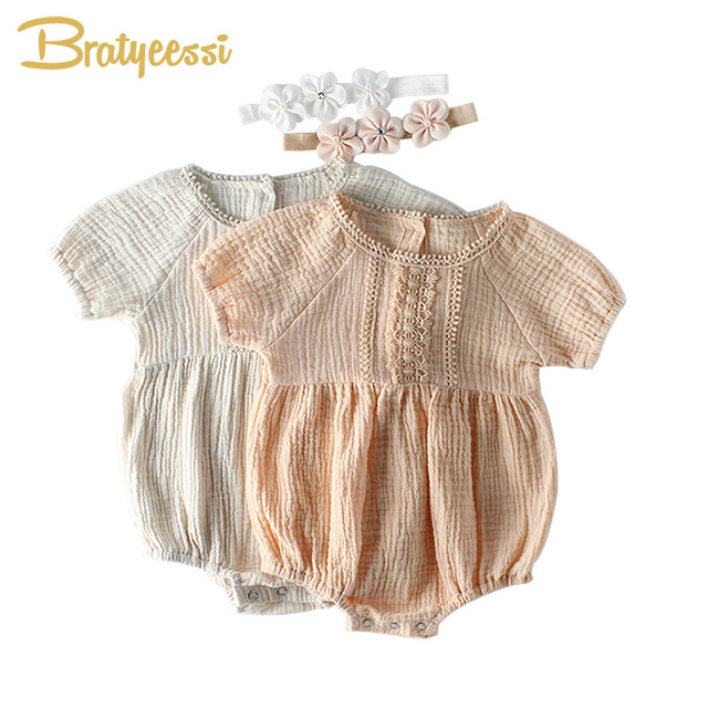 908bee623e8a5 US $9.99 30% OFF|2019 Summer Baby Girl Romper Princess Birthday One pieces  Newborn Baby Rompers for Girls with Headband New Born Baby Clothes-in ...