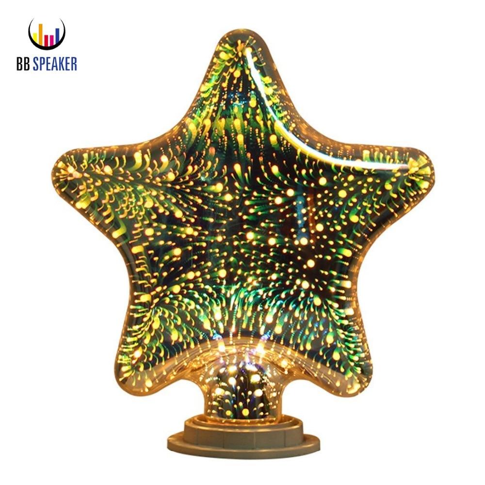 Light Bulbs Lights & Lighting Bright Star/heart/diamond 3d Led Bulb Fireworks Night Light Filament E27 Bulb 5w 110v 220v Novelty Rgb Lamp Decor For Home Bb Speaker Lovely Luster