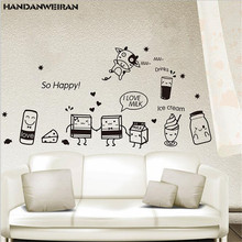 1PCS DIY Wall Stickers for Kitchen Food Coffee Art Decal  Window Self-Adhesive Waterproof 20*40CM