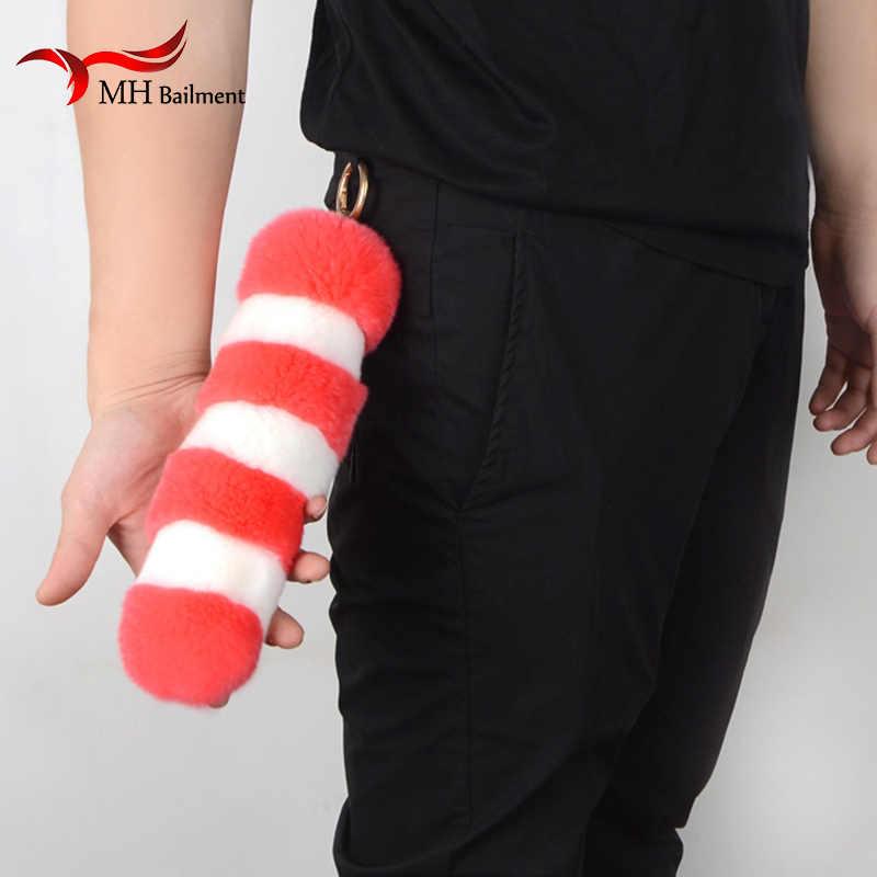Rex Fur Cauda Ornamentos Sacos Pingente Keychain Da Cauda Da Raposa Realmente Pele Grama de Cinema e Televisão Adereços Desempenho