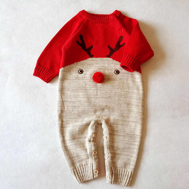 2018 Newborn Baby Boy Clothes Christmas Baby Knitted Romper Autumn