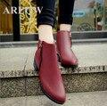 AREQW Vogue de 2016 tendência é o popular apontou botas curtas botas Femininas, botas de couro