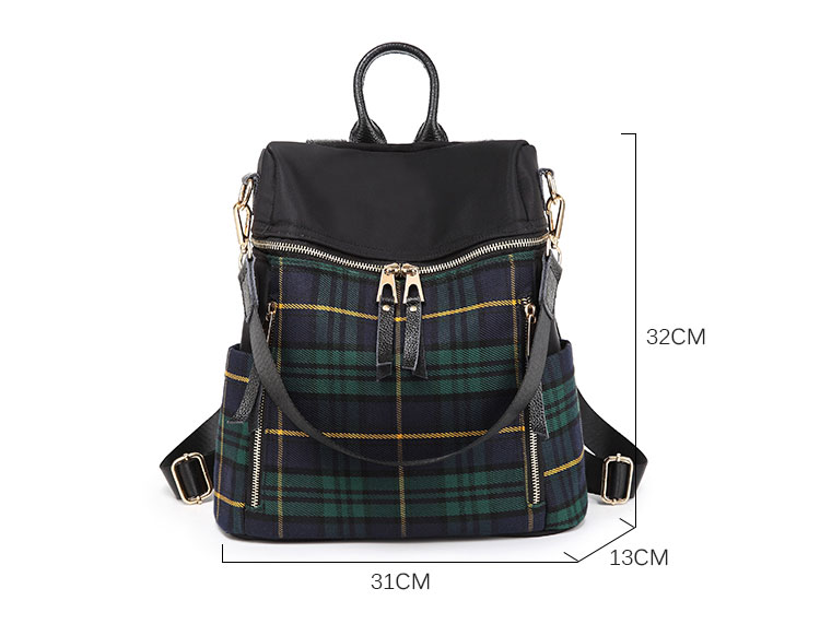 plaid women backpacks genuine leather travel backpack for lady brand shoulder bags (4)