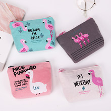 1PC New Cute Purses Cartoon Bird Flamingos Canvas Coin Purses Wallet High Performance Price Ratio Zipper Card Bag(China)