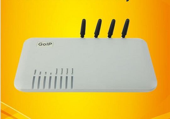 GOIP-4 4-Channel VoIP GSM Gateway GSM network and VoIP Voice prompts,NAT Transversal and Router functions