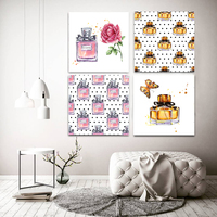 Fashion Perfume Bottle Wall Art Paintings Women Home Decor Canvas Posters and Prints Modern Wall Pictures Set of 4 No Frame