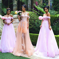 Romantic Girls Orange/Pink Bridesmaid Dress Beaded Lace Tulle Bridesmaid Dresses Glamorous Sweetheart Bridesmaid Gowns B99