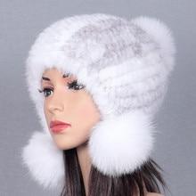Mink fur weaving hat mink hair lady fox ball winter winter warm helmet hat thick new
