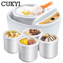 CUKYI бытовой электрический белый фарфор электрический тушеный котел из нержавеющей тушеной рисоварки BB каша 300 Вт горшок