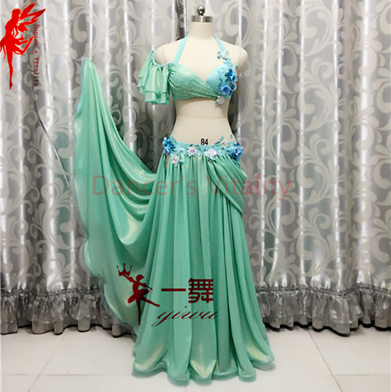 Lady Performance clothes luxury flowers bra top and satin skirt 2pcs belly dance suit women dance suit B/C cup S/M/L girls dance