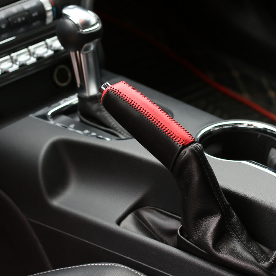 Car-Styling Top Manual Stitching Genuine Leather Hand Brake Level Cover Handbrake Grips For Ford Mustang 2015 Up Free Shipping high quality mini handbrake grips