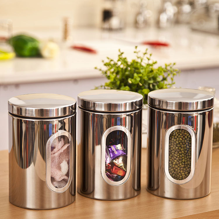 Superbe Free Shipping Stainless Steel Kitchen Storage Containers Very Good Quality  Vacuum Tea Caddy Translucent Food Jar Three A Set In Storage Bottles U0026 Jars  From ...