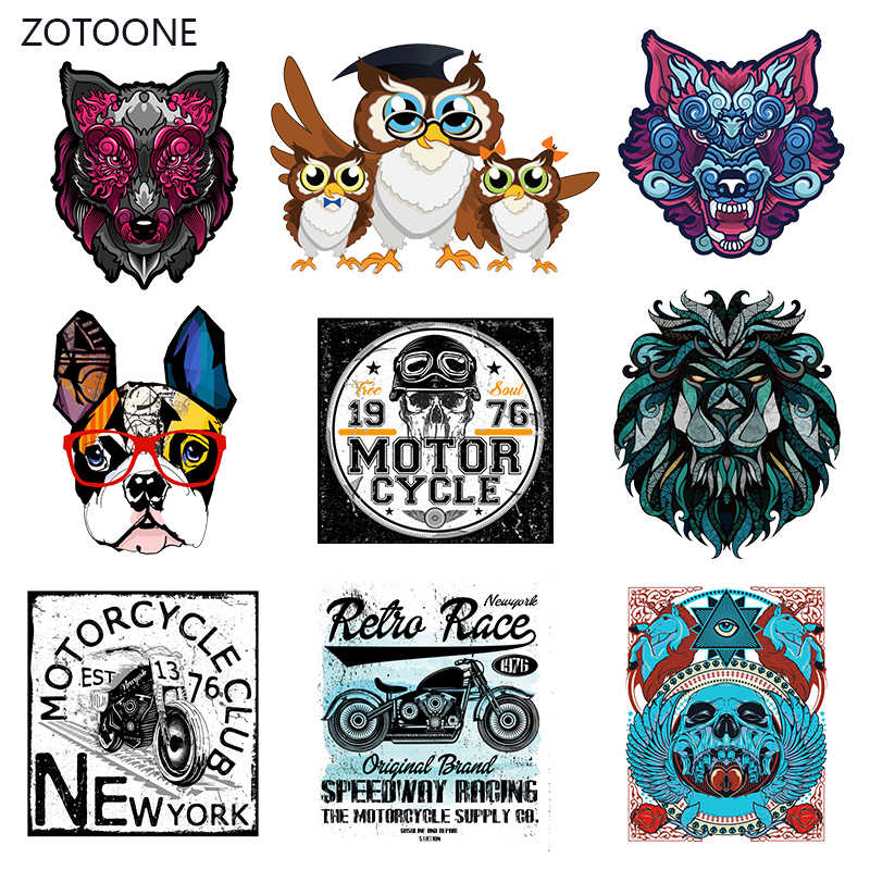 ZOTOONE Punk perro rayas hierro sobre transferencia parches en parche de manualidades para ropa transferencia de calor para la ropa para chica camisetas pegatina I
