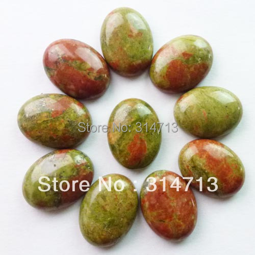 (Min.order 10$ mix) Free shipping (10 pieces/lot) Wholesale Unakite Gem Oval CAB CABOCHON 20x15x6mm