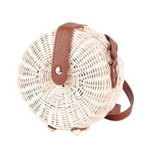 Handmade Rattan Woven Round Beach Bag Vintage Natural Fashion Shoulder Bags For Women Simple Style