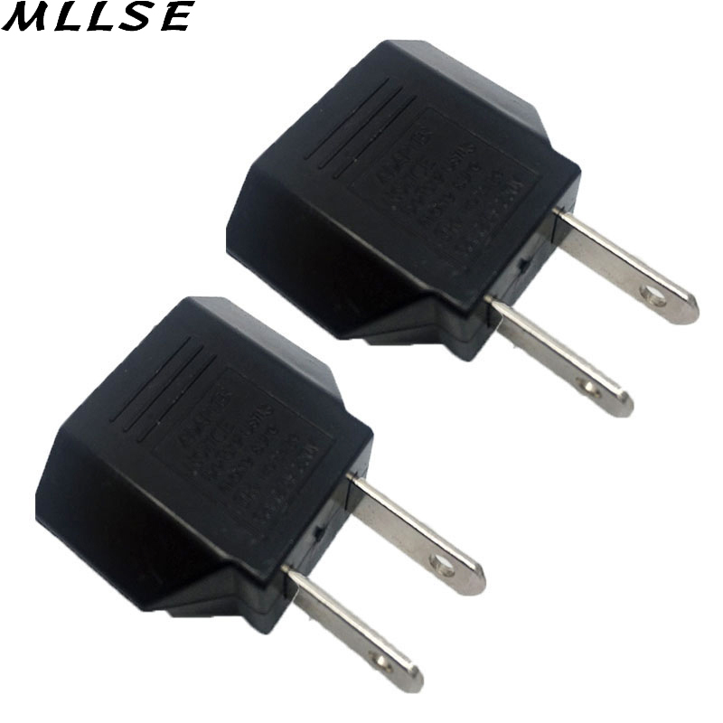 MLLSE 2pcs/lot Black Universal Travel Power Plug Adapter EU EURO to US USA Adaptor Converter AC Power Plug Adaptor Connector