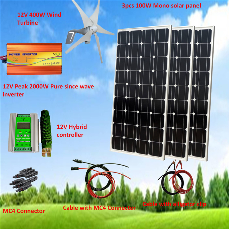 700W Hybrid System Kit: 400W Wind Turbine Generator & 3*100W Mono Solar Panel+ Peak 2000W Pure Since Wave Inverter+Accessories