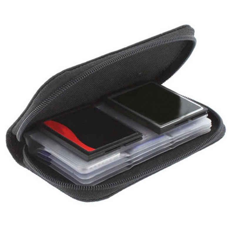 1 adet koruyucu tutucu cüzdan siyah 22 SDHC MMC CF mikro SD hafıza kartı depolama taşıma fermuar kılıfı