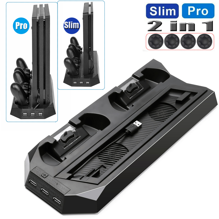 PS4 Slim/PRO 2 in 1 Vertical Cooling Stand with Dual Joypad Charging Station & 3 HUB Port 4 Caps for Sony PlayStation 4 PS4 Slim