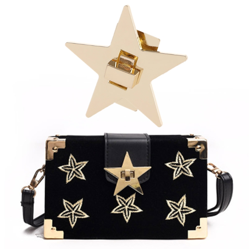 Women Star Metal DIY Clasp Turn Twist Lock For Shoulder Bag Handbag Purse