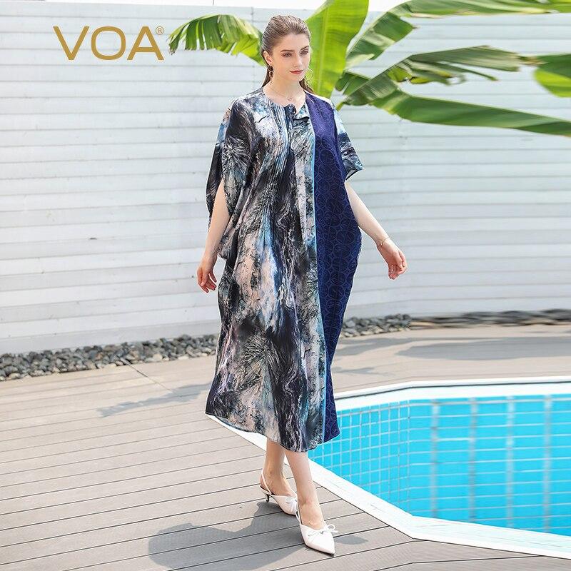 VOA Robe en soie tache robes musulmanes femmes vêtements décontracté lâche grande taille longue Robe imprimée manches chauve-souris Abaya dubaï caftan A701