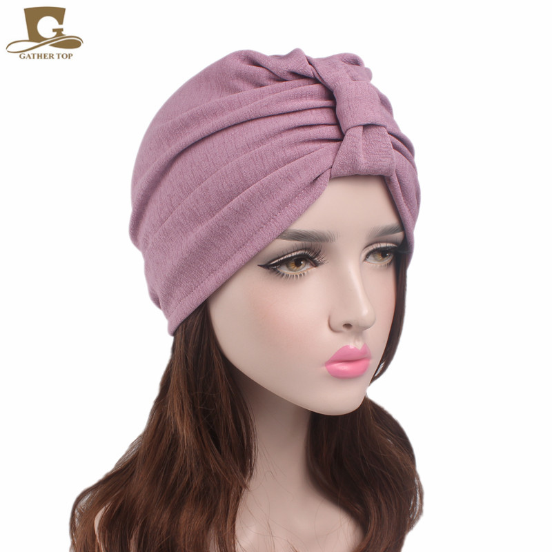 New Vintage bowknot Turban Retro Turbans for Women Cancer Chemo Patients  Head cover 0ba20c10cf1