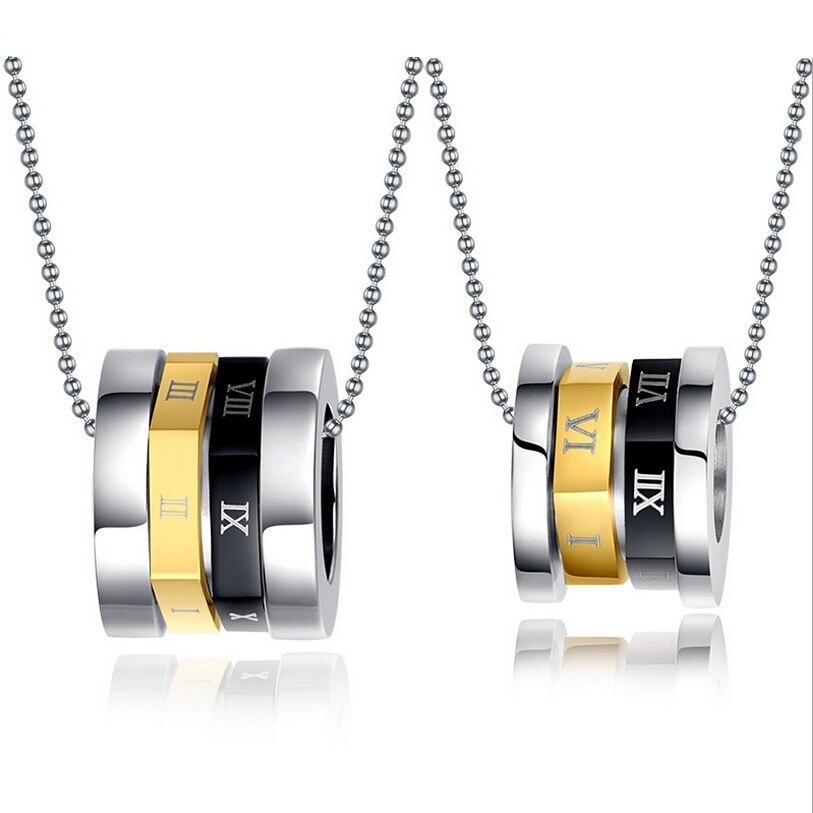 Looker Couples Jewelry Titanium Steel Rotating Roman Numerals Bulgaria Pendant Necklace For Men/Women Fine Jewelry
